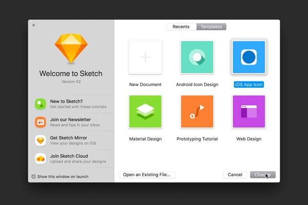 Sketch iOS App Icon Template Window